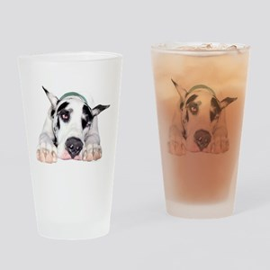 Great Dane Shy Harlequin Drinking Glass